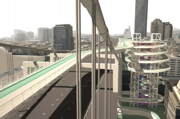 A rendering/proposed design for the final piece of the Bay Bridge project--the bike path to SF. Image: Handout / Arup Group Illustrations.