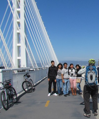 Taking pictures at the end of the Alex Zuckermann Bike Path is a popular activity. All photos: Melanie Curry