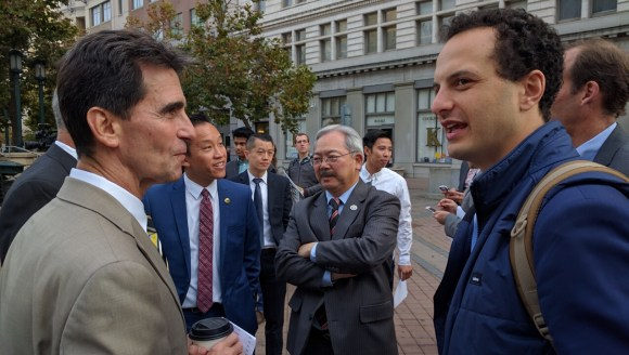 Senator Mark Leno, Assemblyman David Chiu, SF Mayor Ed Lee, and BART Director Nick Josefowitz chatting just before the press conference. Photo: Streetsblog