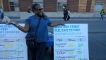 Joy Tyler was out letting people know about the Vision Zero coalition effort to ends street violence. Photo: Streetsblog