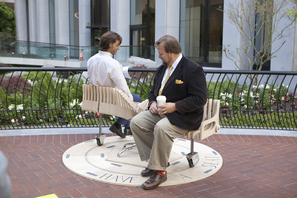 """The """"Bench Go Round"""" was another display that artist set up at the prototyping festival, to give people on Market Street a moment of social interaction. Photo: Prototyping festival"""