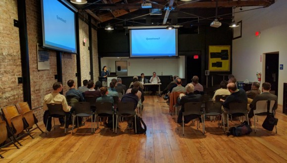 European rail consultants talked about the precision of the Swiss railway system at a meeting at SPUR Oakland last night. Photo: Streetsblog