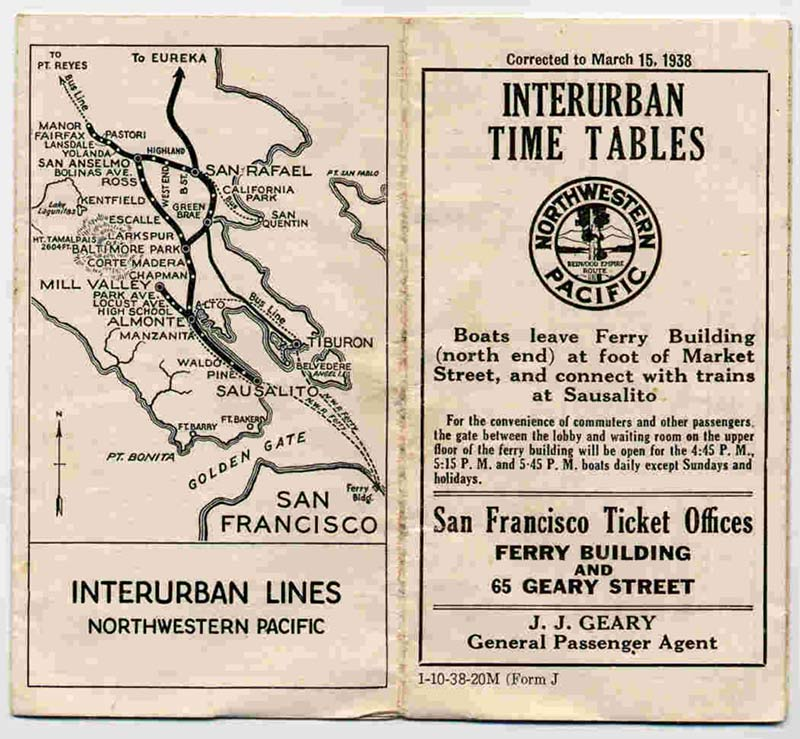 A 1938 train schedule cover. Image via the Mendocino Coast Historical SocietyThis map probably looks familiar to Marin cyclists: much of the old rail rights of way are now multi-use bike paths.
