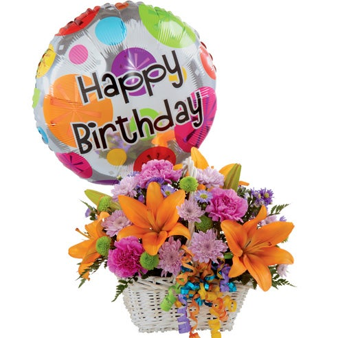 Happy Birthday Bouquet And Balloon At Send Flowers
