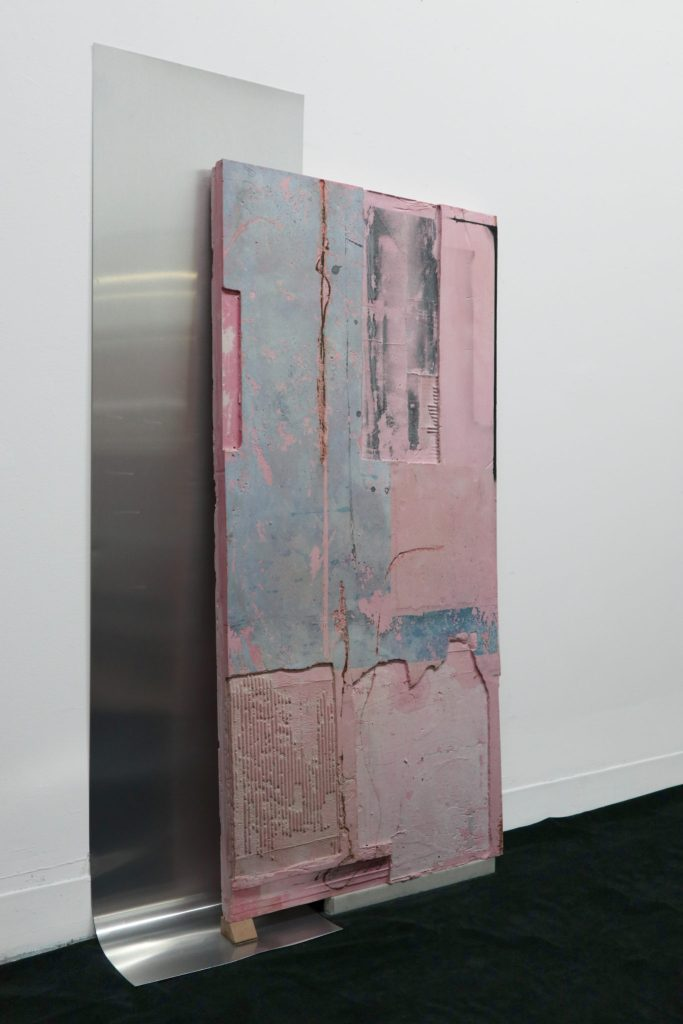 """(img _____ .jpg)"" (2018, enamel and acrylic paint on pigmented hydrocal, wood, marble, aluminum, 52 x 32 x 2.5 inches)"