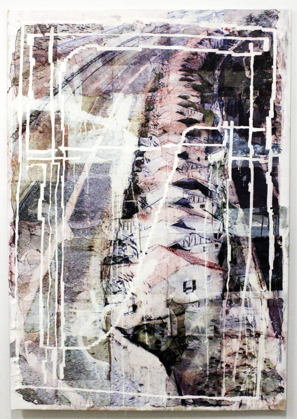 """Grant Wells """"Coordinate #12"""" (pigment transfer and ink on canvas, 60""""x42"""")"""