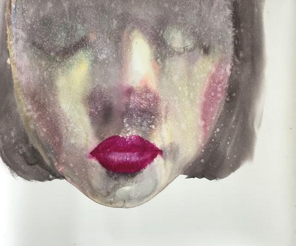 "Attasit Pokpong ""Calmness 2"" (2018, watercolor on paper, 45.3"" x 51.2"")"