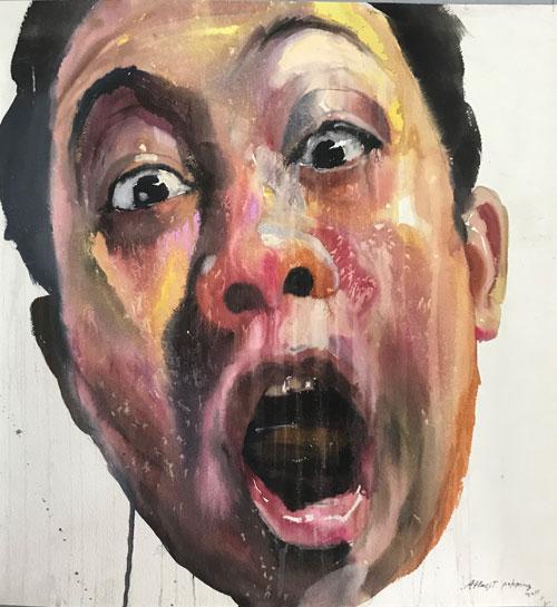 "Attasit Pokpong ""Self Portrait 2"" (2011, watercolor on paper, 65"" x 65"")"