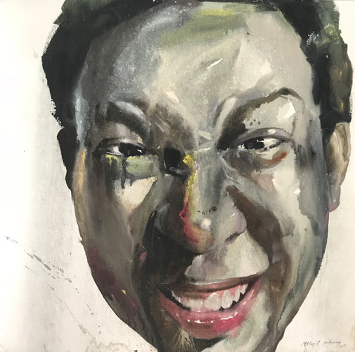 "Attasit Pokpong ""Self Portrait 3"" (2011, watercolor on paper, 25.6"" x 25.6"")"