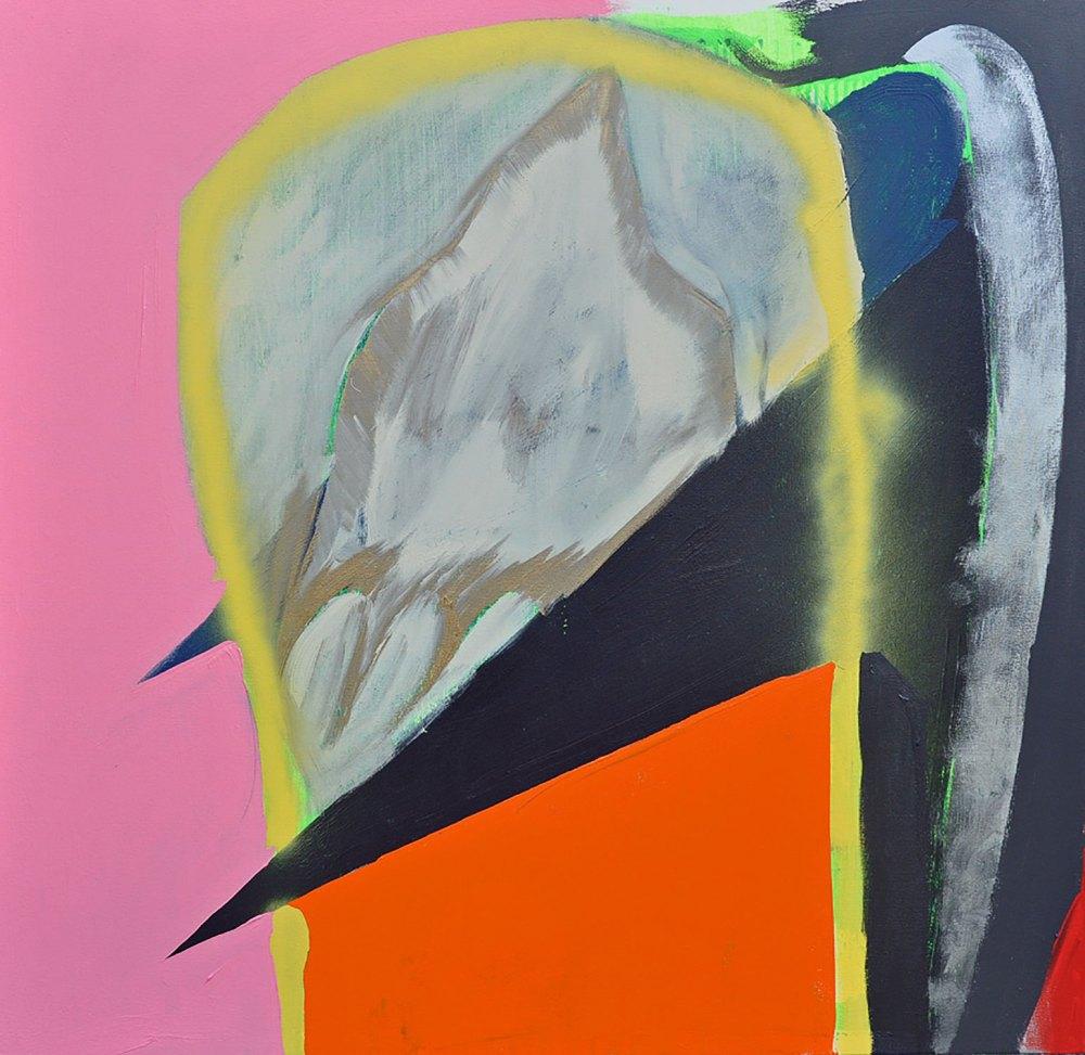 """Paul Behnke """"Citadel of Faith and Power"""" (2018, acrylic and spray paint on canvas, 50 x 48 in.)"""
