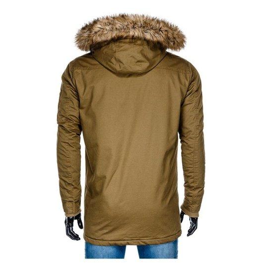 dolga moška bunda rjave barve