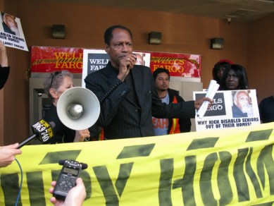Occupy Our Homes protest Archbishop Franzo King speaking BVHP Wells Fargo 120612