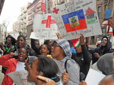 Haiti Relief Coalition protests Red Cross NYC HQ 032210 by Amadi Ajamu, web