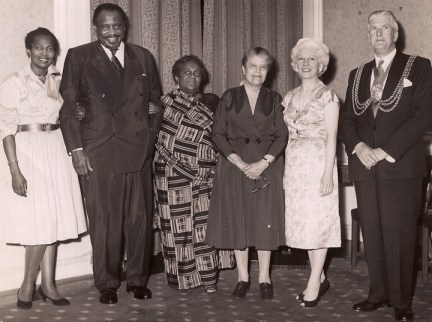 Claudia Jones, Paul Robeson, Amy A. Garvey with friends in London, web