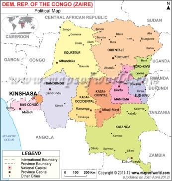 DR Congo provincial map