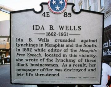 Ida B. Wells plaque in Memphis