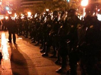 Oscar Grant Mehserle verdict cops block Broadway 070810 by repost