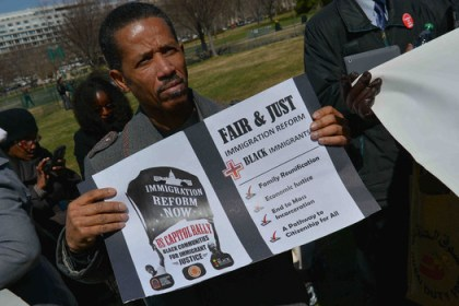 Black migrants rally for comprehensive immigration reform west lawn Capitol 032013 by Don Baxter, Media Images Internati