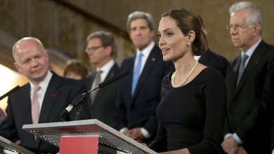 British Foreign Secretary William Hague, U.S. Secretary of State John Kerry, other G8 leaders, Angelina Jolie 041113 by