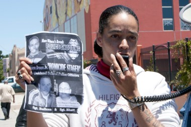 SFPD Kenneth Harding murder press conf 3rd & Oakdale Lori Davis, mother of Raheim Brown, 071811 by Malaika, web