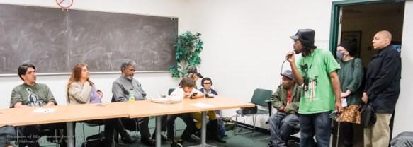KPFAGÇÖs Townhall on Racism Tim Killings speaks to panel at Laney 041113 by Scott Braley, web