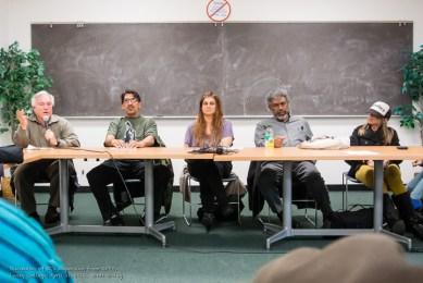 KPFAGÇÖs Townhall on Racism panel Steve Zeltzer, Frank Sterling, Tracy Rosenberg, Gerald Sanders, Tiny at Laney 041113 by