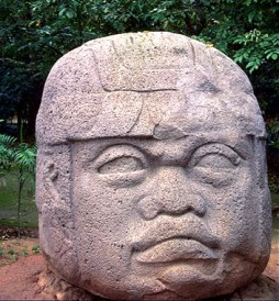 Olmec king at Tres Zapotes archeological site, Veracruz, color
