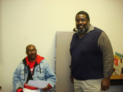 Student Malcolm Joseph, City College instructor & African American Scholastic Program co-founder Bruce Collins at Evans campus by Jackson Ly