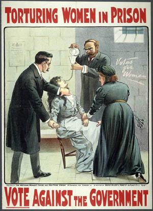 Force feeding British suffragette poster