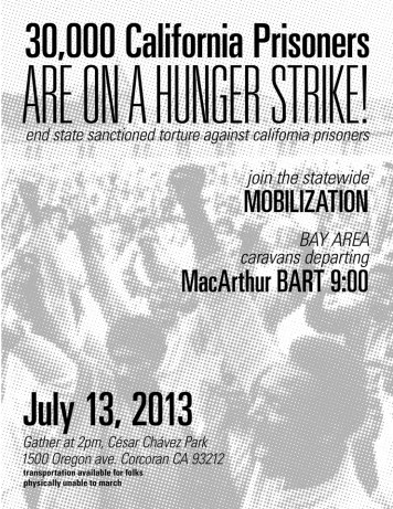 Corcoran mobilization '30,000 Cali prisoners are on hunger strike' 0713