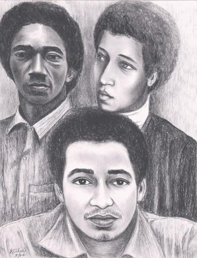 Ruchell Magee, George & Jonathan Jackson drawing by Kiilu Nyasha, web