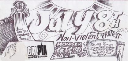 'July 8 Hunger Strike' drawing courtesy Under Lock and Key, web