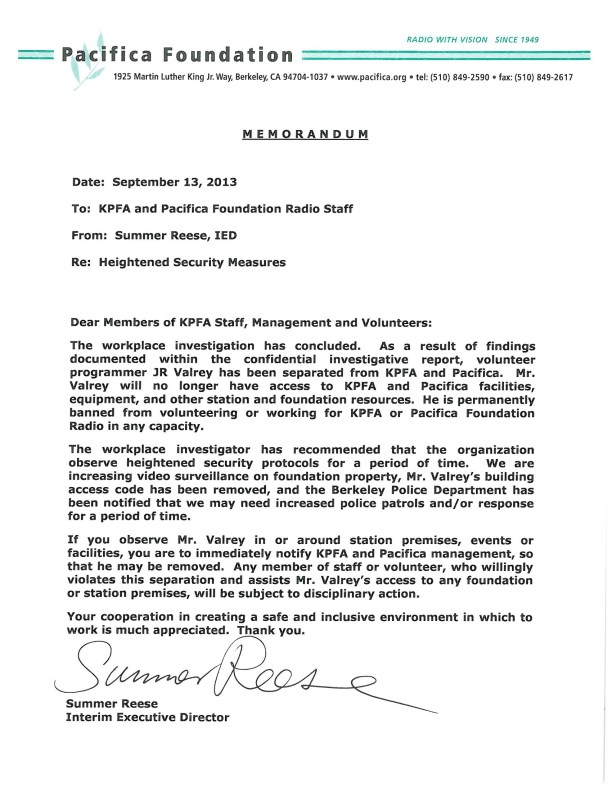 Pacifica memo to KPFA staff banning JR Valrey 091313