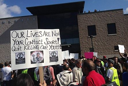 Justice for Andy Lopez protest Santa Rosa Sheriff HQ 'Our lives are not your contact sport' 110513