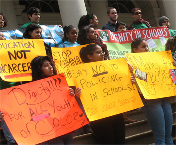 Dignity in Schools Campaign-NY protests to stop school-to-prison pipeline 041513