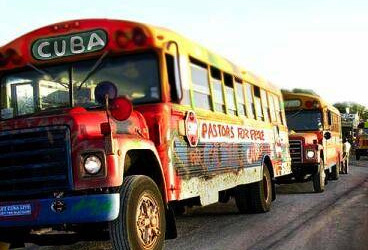 IFCO Pastors for Peace Friendshipment Caravan buses at Mexican border 072010