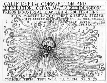 'The Prison Beast' CDCR CCPOA octopus prisoner drawing