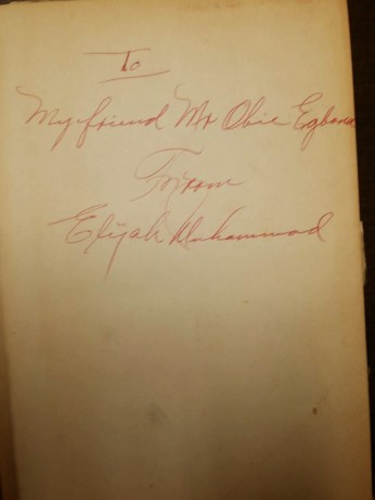 Elijah Muhammad autographs GÇÿMessage to the BlackmanGÇÖ to Obi Egbuna Sr