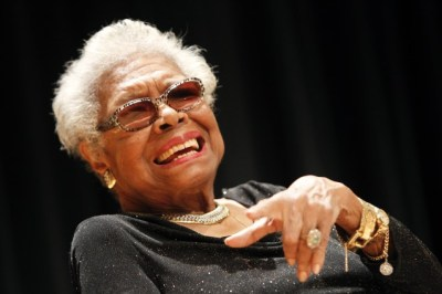 Maya Angelou white haired, laughing