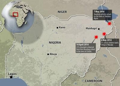 Nigeria map Boko Haram girls abduction 0514