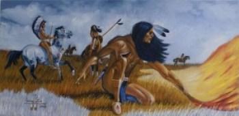 Warriors on the plains – Art: Leonard Peltier