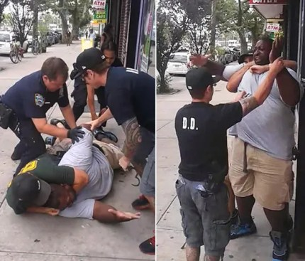 """I can't breathe! I can't breathe!"" gasped Eric Garner, 43, an asthmatic father of six, as NYPD Officer Daniel Pantaleo held him in a death grip. Pantaleo has been accused of being heavy handed with other Black suspects in the past."