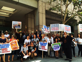 """A rally called """"Remembering the Hunger Strikers One Year Anniversary … to Commemorate the Largest Hunger Strike in History,"""" organized by California Families Against Solitary Confinement, was held from 11 a.m. to 1 p.m. at the Los Angeles State Building."""