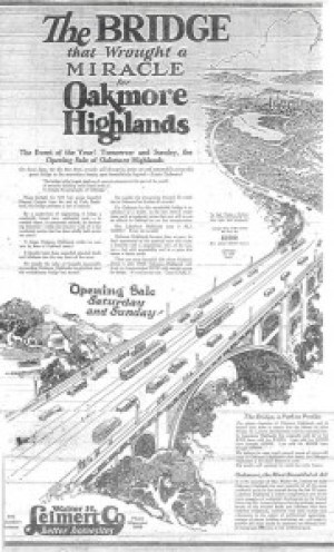 This ad in 1926 announces the opening of the Leimert Bridge, built by the same Walter Leimert whose name graces a Los Angeles neighborhood and the book fair.