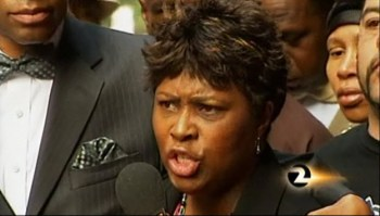 "Wanda Johnson responds angrily to the verdict of involuntary manslaughter, crying out again and again to the press, ""My son was murdered!"" Inadequate as it was, the Mehserle verdict was the first time a law enforcement officer in California was convicted for an on-duty shooting. – Photo: KTVU"