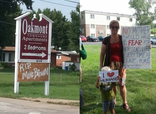 "Ferguson is largely united across age, class and even race lines, a property management company tolerating this ""R.I.P. Mike Brown"" sign tacked onto their apartments-for-rent sign and white folks demonstrating for justice. – Photo: JR Valrey, Block Report"