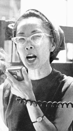 A young Yuri Kochiyama, who learned to be a dynamic political advocate from working with Malcolm X, speaks at a rally in New York City's Central Park in about 1968.