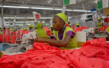 Haitian women work for slave wages in a Caracol Industrial Park sweatshop. – Photo: Swoan Parker, Reuters