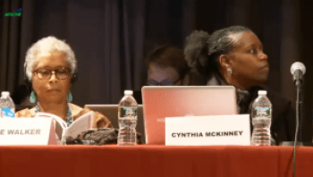 Alice Walker and Cynthia McKinney were members of the Russell Tribunal, hearing evidence of atrocities against Gaza, at its fourth session, held in New York on Oct. 7, 2012.