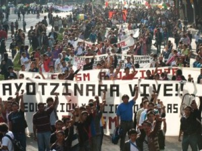 Thousands march in Mexico for the Ayotzinapa 43 on Oct. 22.